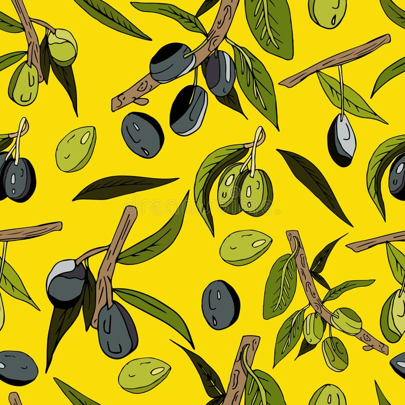 Seamless abstract pattern of olives, twigs, leaves and fruits on a yellow background. Decorative juicy print. black and green. Seamless abstract pattern of royalty free illustration