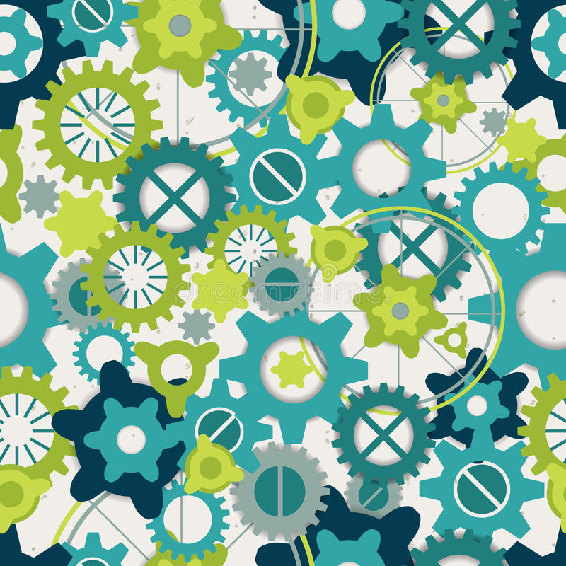 Seamless abstract pattern of pastel green gears stock illustration