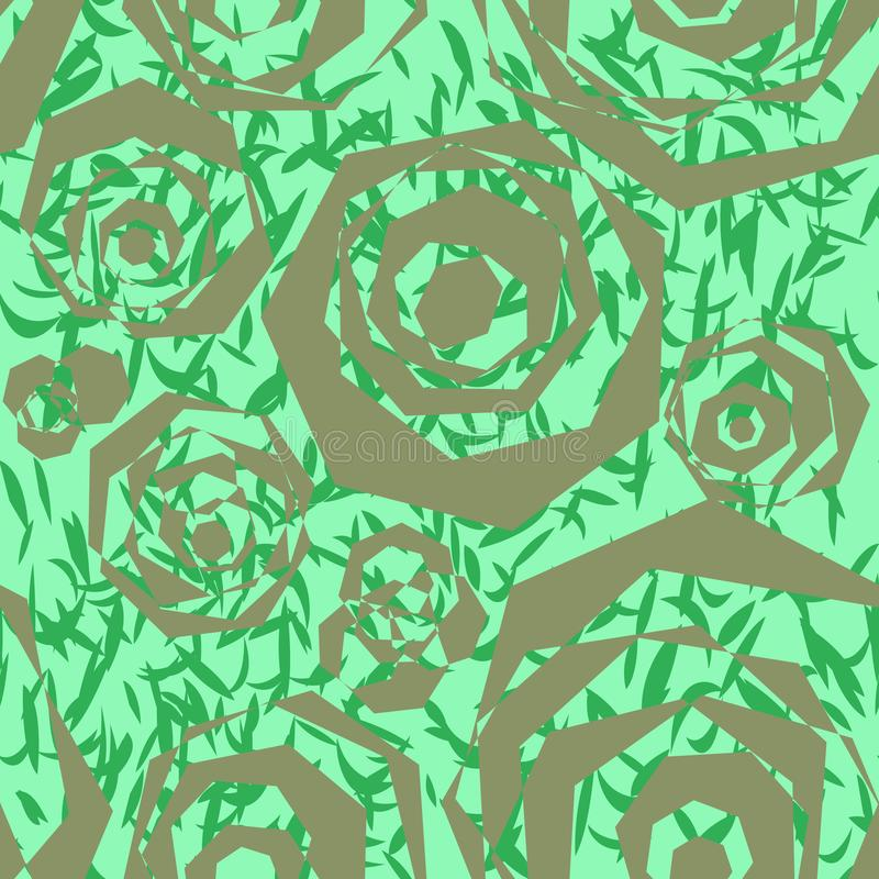 Seamless abstract pattern of polygonal silver elements, similar to stylized roses and green leaves. stock illustration