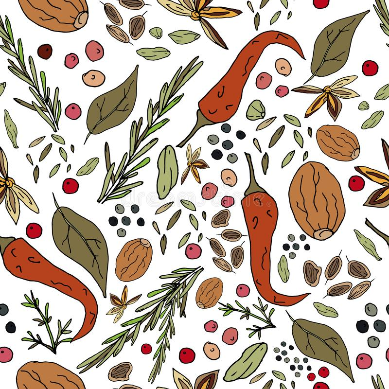 Seamless abstract pattern of spices. Print for fabric and other surfaces. Chilli pepper, black and pink peppercorns, bay leaf,. Basil, nutmeg, thyme, rosemary royalty free illustration