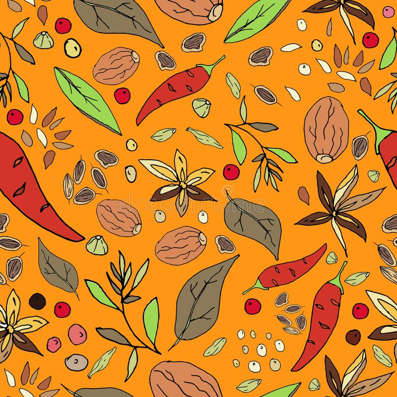 Seamless abstract pattern of spices. Print for fabric and other surfaces. Chilli pepper, black and pink peppercorns, bay leaf,. Basil, nutmeg, thyme, rosemary vector illustration