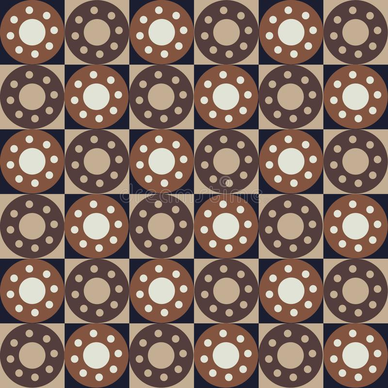 Seamless abstract pattern with squares and circles royalty free illustration