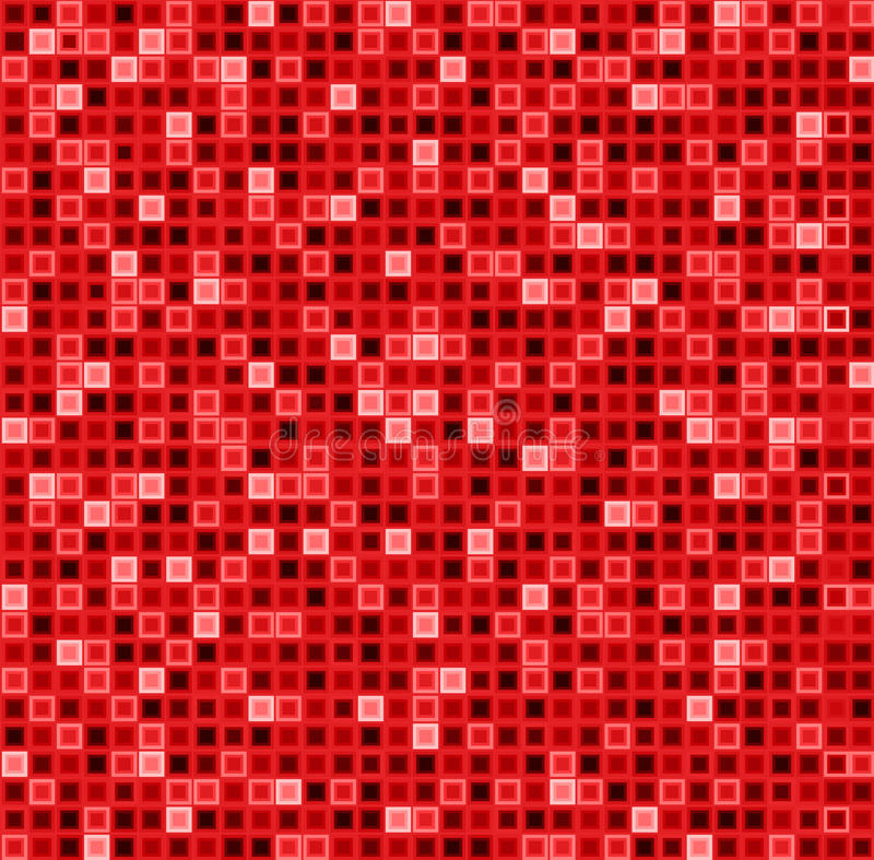 Seamless abstract pattern with squares in red color. Vector geometrical background. stock illustration