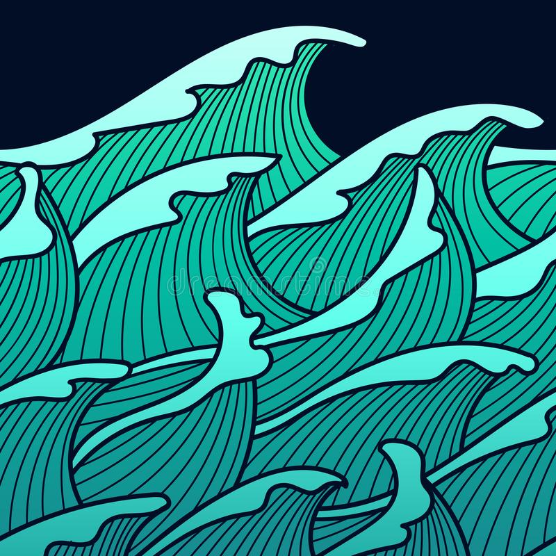 Seamless abstract pattern. Stormy waves. Vector illustration with ocean waves stock illustration