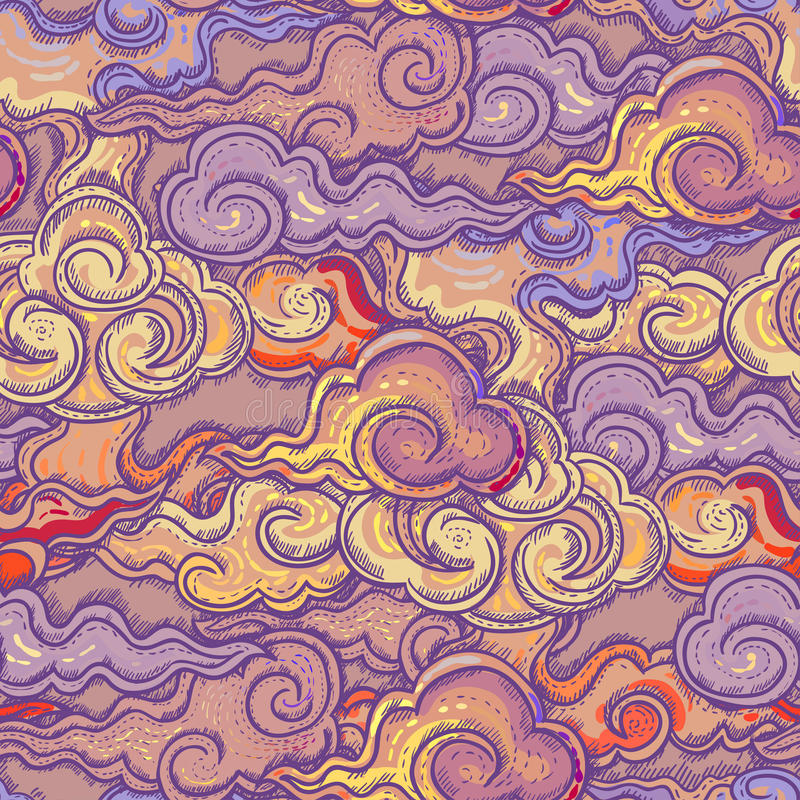 Seamless abstract pattern, waves background stock illustration