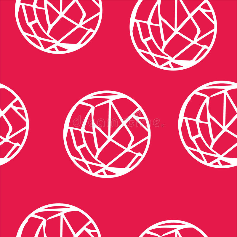 Seamless abstract pattern white circles-webs. On red background stock illustration