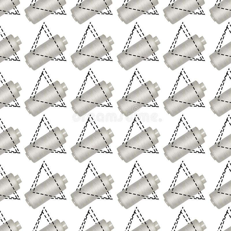 Seamless abstract background of white spools of thread. Seamless abstract pattern of white spools of thread, reel, design, fashion, bobbin, sewing, background stock image