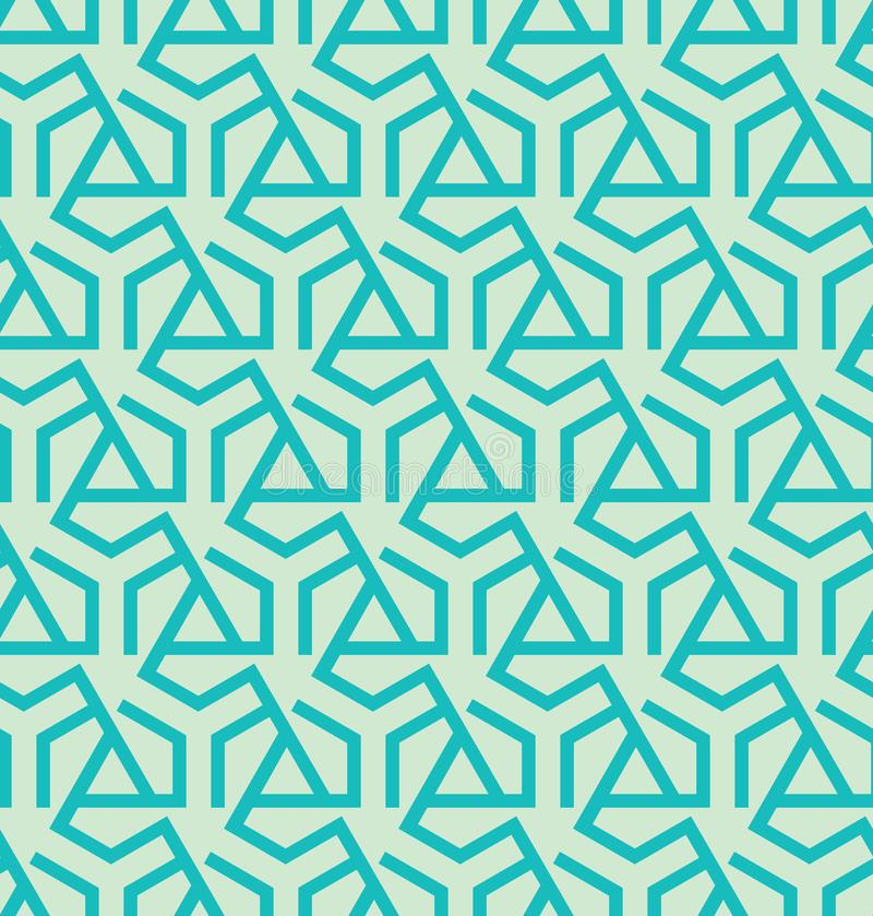 Abstract geometric pattern made of triangles and hexagons - vector eps8. Seamless abstract retro pattern from geometric hexagons and triangles in blue colors stock illustration