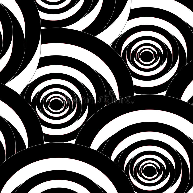 Seamless abstract spiral black and white pattern. Seamless pattern with abstract spiral shapes. Repeating black and white modern background royalty free illustration