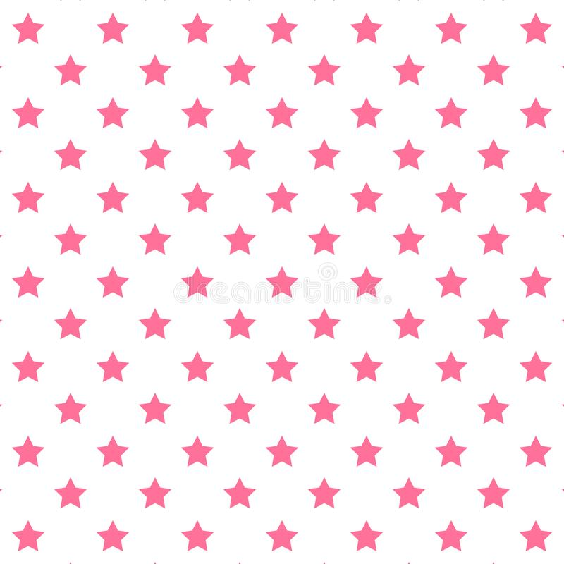 Seamless abstract Star Pink pattern on white background, Vector illustration texture for paper. Wrapping and fabric royalty free illustration