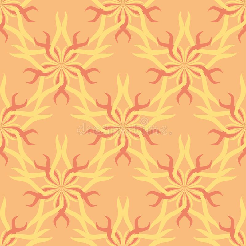 Seamless abstract stars vintage orange pattern vector illustration