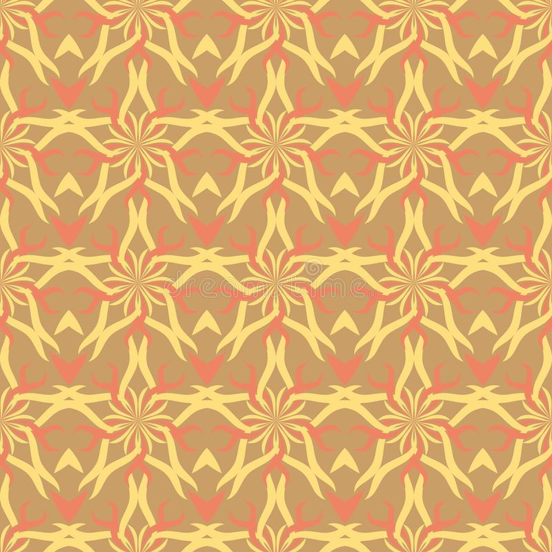 Seamless abstract stars vintage orange pattern royalty free illustration