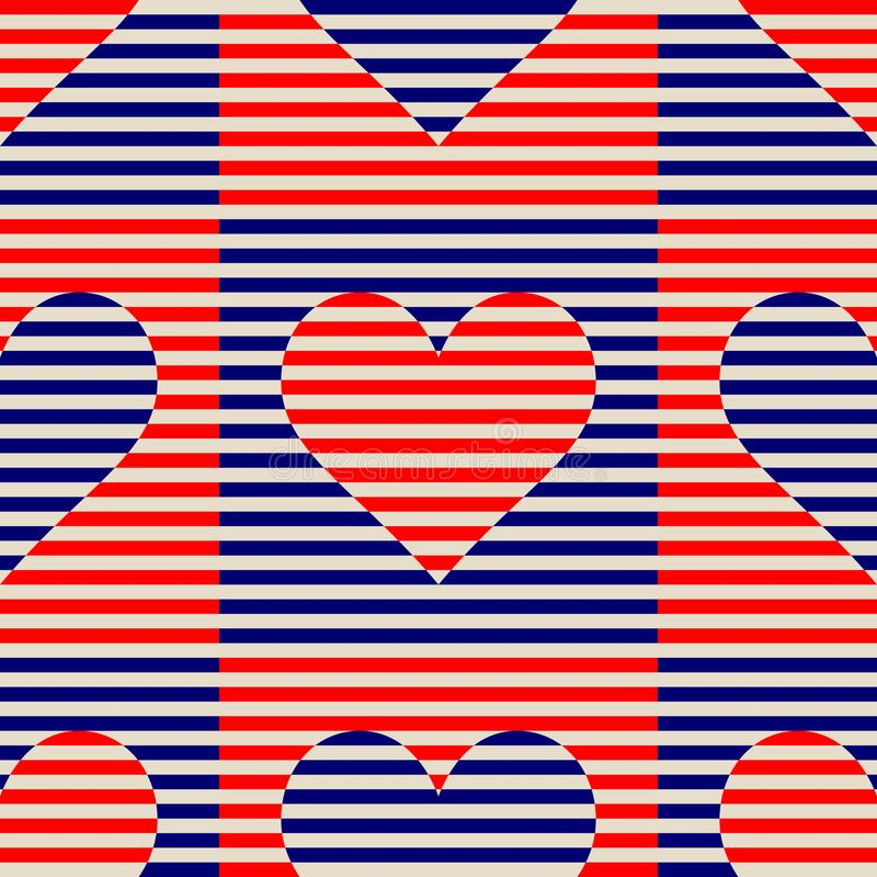 Seamless abstract striped lines vector patterns. Vector fashion backdrop with hearts in vintage op art style.  vector illustration