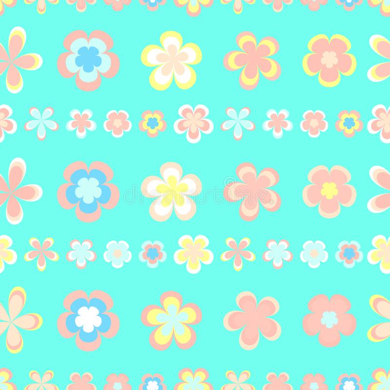 Seamless abstract striped pattern of cute pink and brown geometric flowers stock illustration