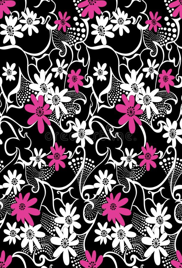 Seamless abstract textile flower pattern on black background stock illustration