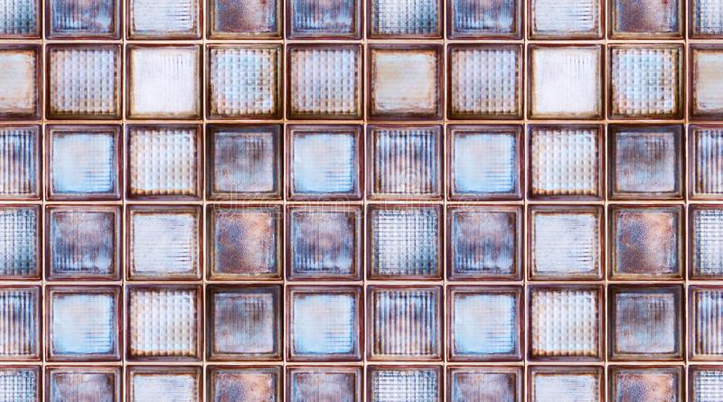 Seamless abstract textured pattern background of transparent multicolor glass cubes in vintage retro style, panoramic web banner.  stock image