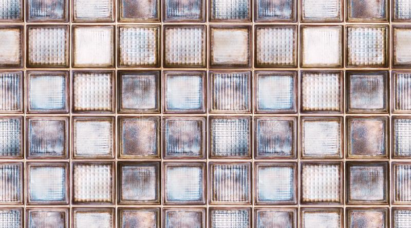Seamless abstract textured pattern background of transparent multicolor glass cubes in vintage retro style, panoramic web banner stock photos