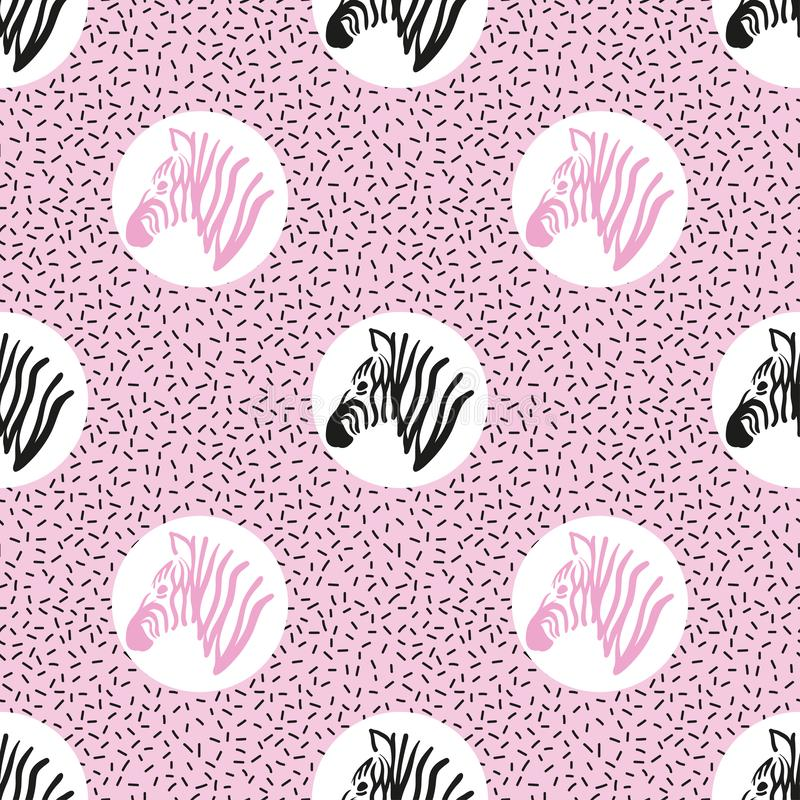 Seamless abstract trendy pattern with zebra heads. Vector background vector illustration