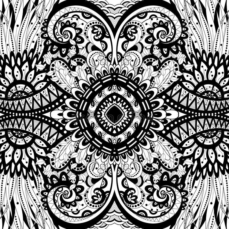 Seamless Abstract Tribal Pattern (Vector). Hand Drawn Ethnic Texture, Flight of Imagination stock illustration