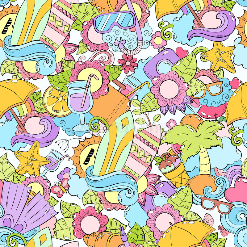 Download Seamless Abstract Vector Doodle Background Summer Cartoon Wallpaper Comic Pattern Anti Stress Book Coloring