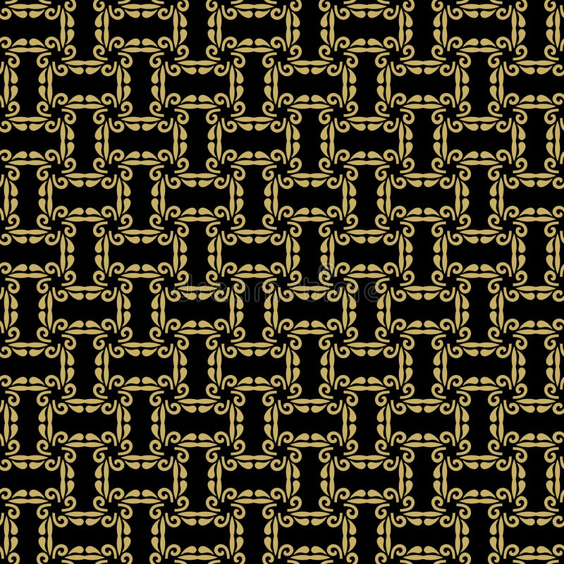 Seamless Abstract Vector Pattern. Geometric fine abstract vector black and golden background. Seamless modern pattern royalty free illustration