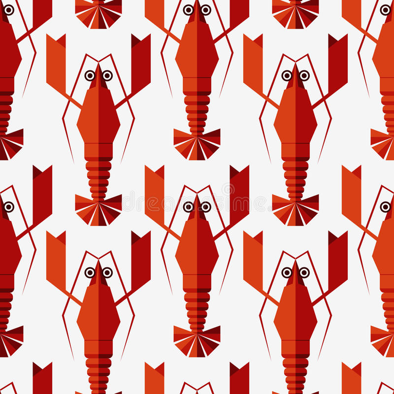 Seamless abstract vector pattern with geometric lobsters. vector illustration