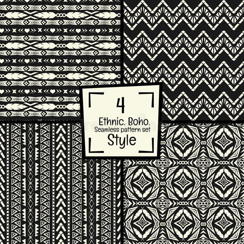 Seamless abstract vector tribal pattern texture in monochrome background royalty free stock photos