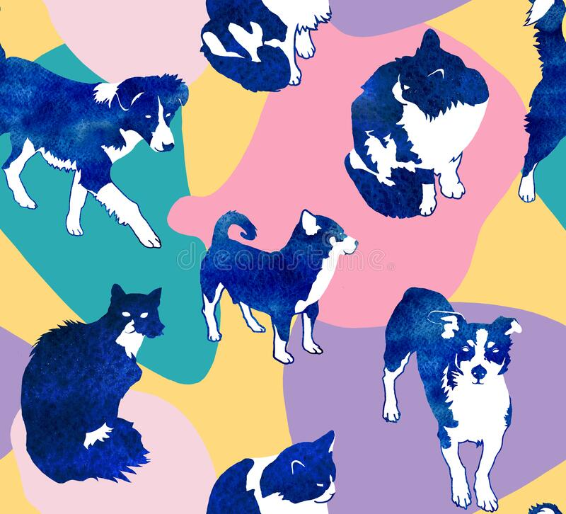 Seamless abstract and vibrant pattern with blue cats and dogs on spotted colorfull background vector illustration