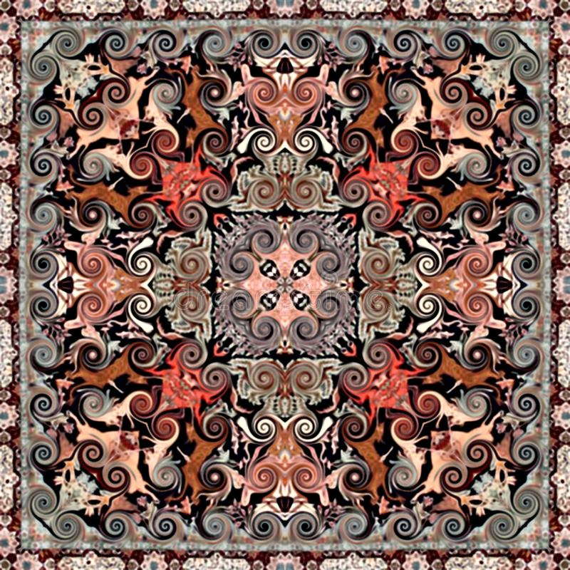 Seamless abstract vintage background colored mosaic symmetrical pattern on textured canvas colorful flower decor Design. For tapestry, wallpaper stock illustration
