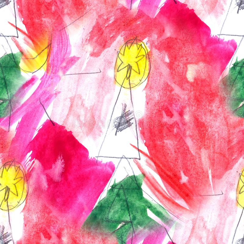 Seamless abstract hand drawn watercolor pattern in a children`s style . Picture for creative wallpaper or design art royalty free illustration