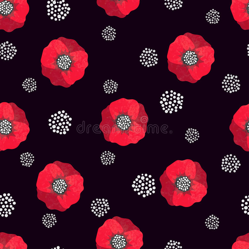 Seamless abstract watercolor poppies pattern. Vector black and red floral background vector illustration