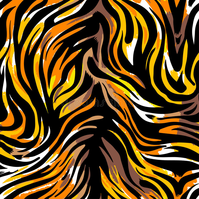 Seamless abstract wild exotic animal print.Leopard, zebra,gepard, tiger striped pattern. Hand drawn trendy repeating watercolor blotted background texture royalty free illustration