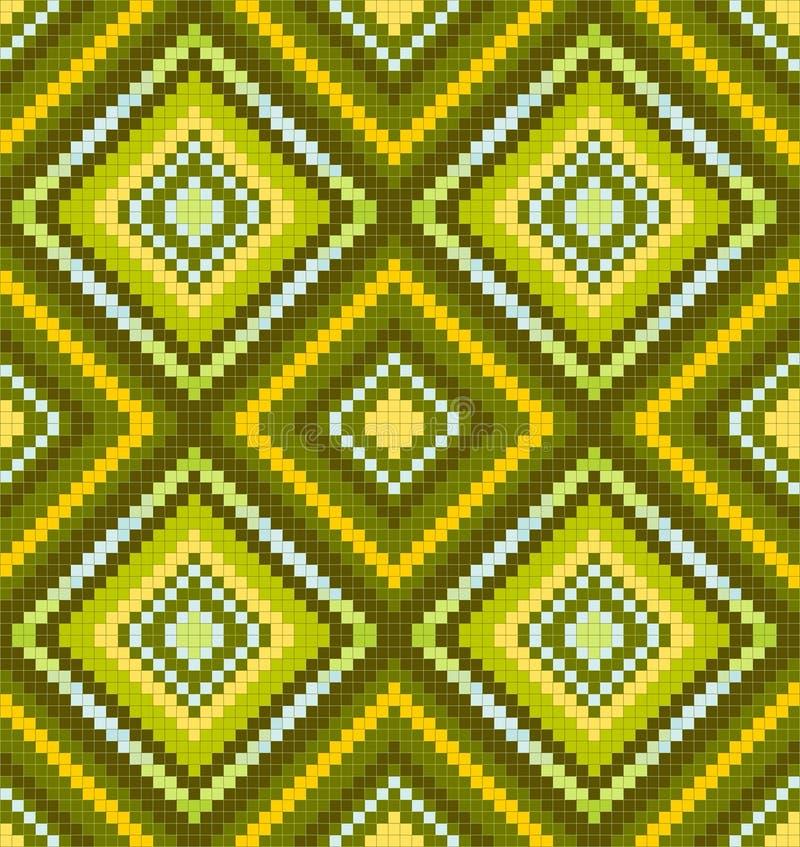 seamless abstrakt afrikansk etnisk grön prydnad royaltyfri illustrationer