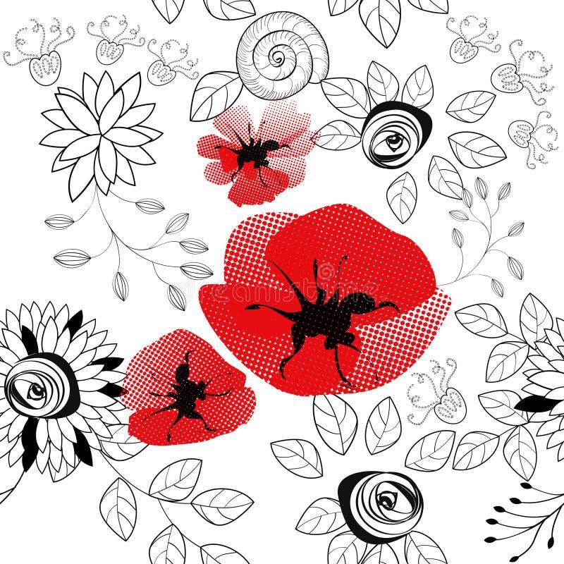 seamless abstrakt blom- modell stock illustrationer