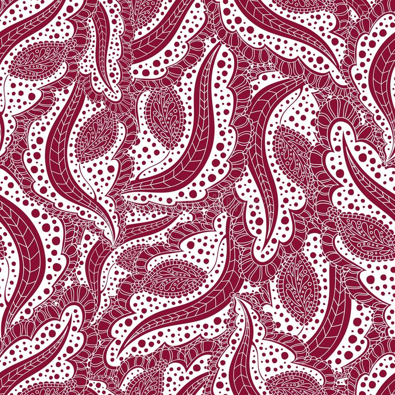 seamless abstrakt blom- modell Prydnad för hälsningkort Sömlös burgundy bakgrund av upprepande beståndsdelar, scrollwork stock illustrationer