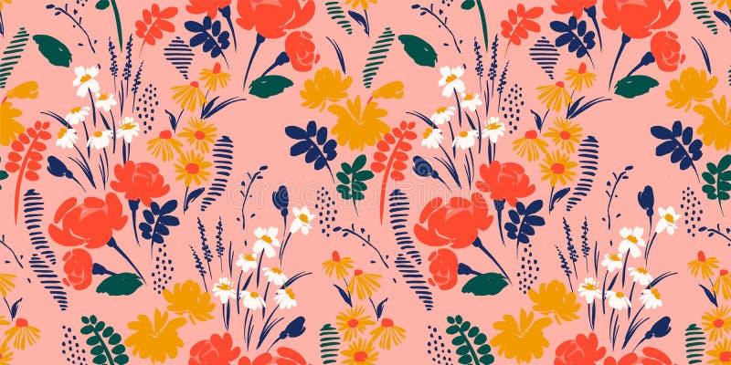 seamless abstrakt blom- modell Vektordesign för olika surfases royaltyfri illustrationer