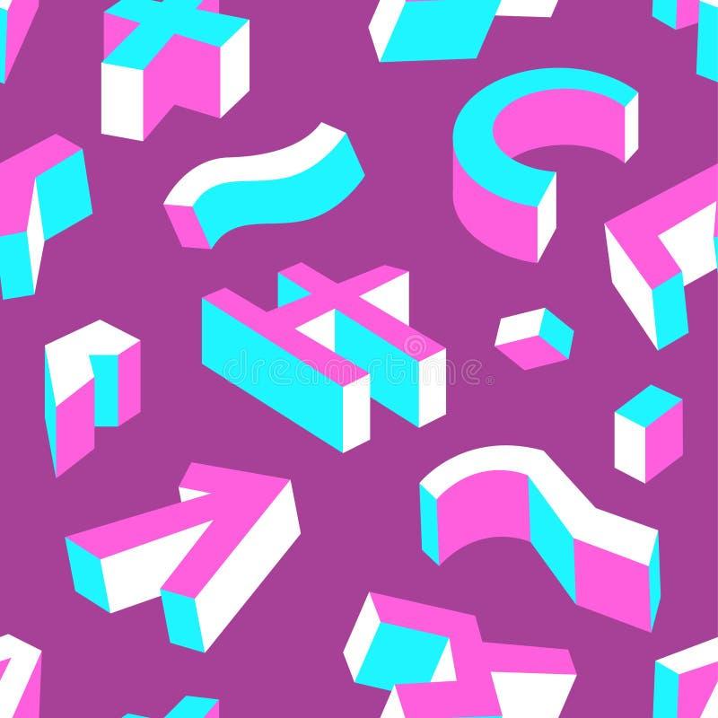 seamless abstrakt geometrisk modell Bakgrund med three-dimen royaltyfri illustrationer