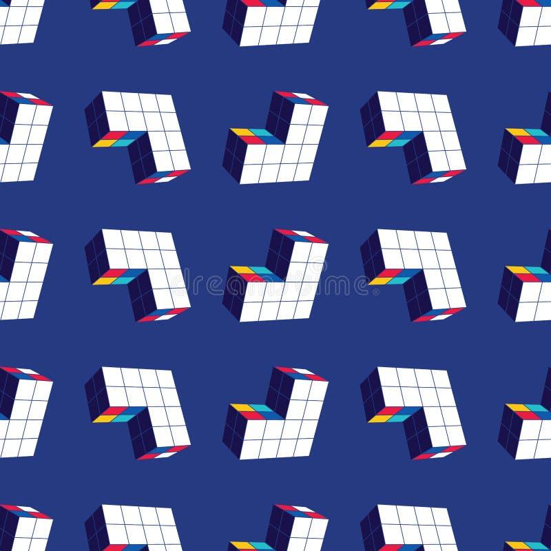 seamless abstrakt geometrisk modell En tredimensionell form i utrymme Märkes- detaljer stock illustrationer