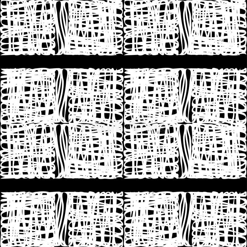 seamless abstrakt geometrisk modell Texturen av fyrkanterna borsten Kläcka för hand Klottra textur stock illustrationer