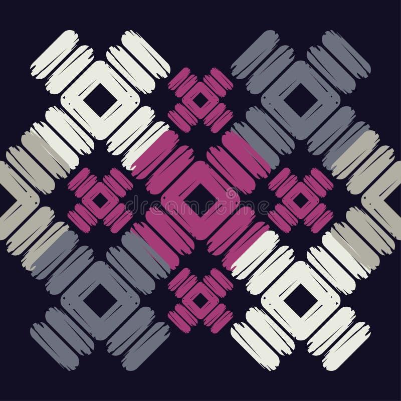 seamless abstrakt geometrisk modell Texturen av romben borsten Kläcka för hand Klottra textur vektor illustrationer