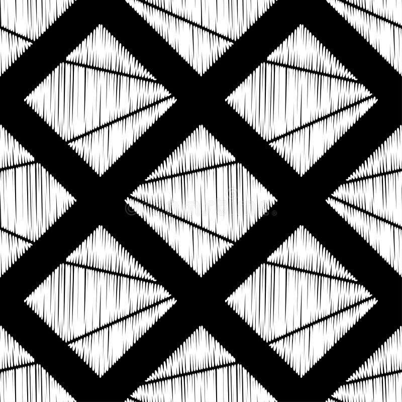 seamless abstrakt geometrisk modell Texturen av romben borsten Kläcka för hand Klottra textur royaltyfri illustrationer