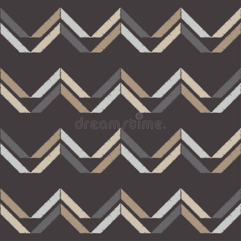 seamless abstrakt geometrisk modell Texturen av sicksacken borsten Kläcka för hand Klottra textur royaltyfri illustrationer