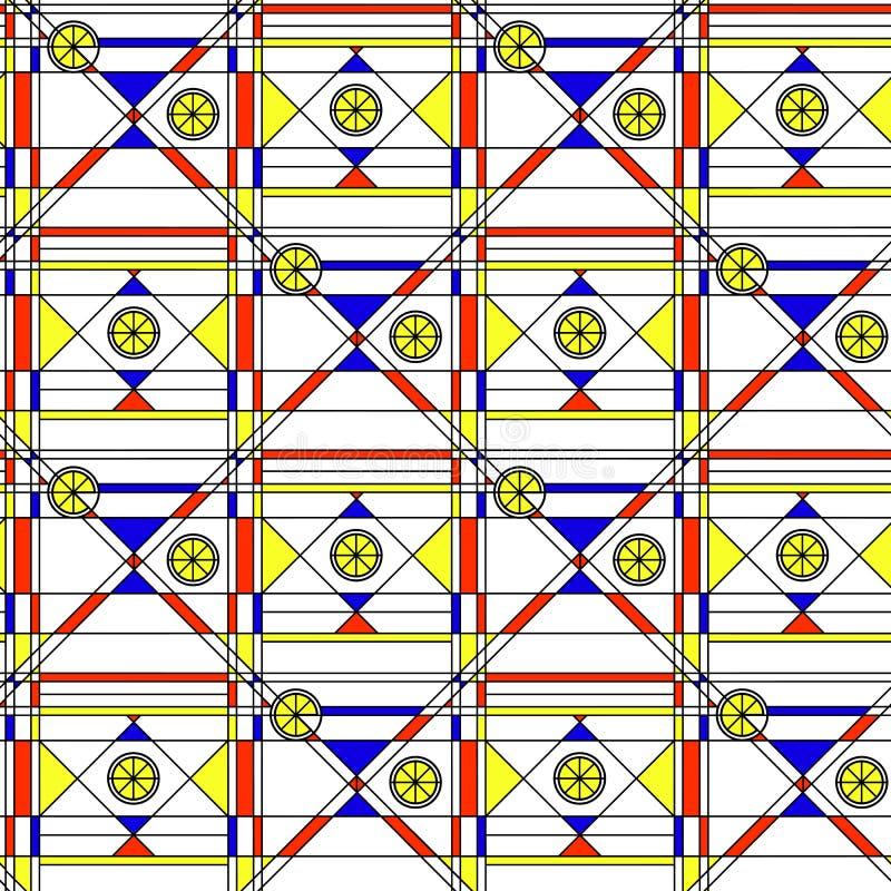 seamless abstrakt modell Geometriskt tryck som komponeras av blått, röd gul polygon och triangel och svartlinjer på vit bakgrund stock illustrationer