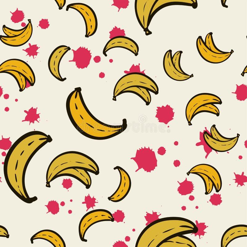 seamless abstrakt modell Gula bananer på rosa bakgrund royaltyfri illustrationer