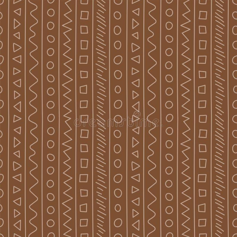 seamless abstrakt modell Klottervektormall abstrakt bakgrundsbrown lines bilden gammal prydnad retro stil Modedesign skissa stock illustrationer