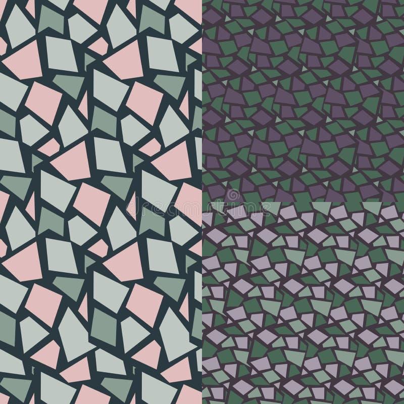 seamless abstrakt modell Uppsättning rhombus stock illustrationer