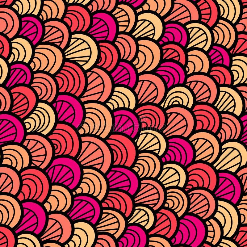 seamless abstrakt modell Utdragen skala för hand Grafisk prydnad abstrakt textur för bakgrundsreptilhud vektor illustrationer