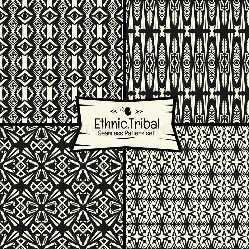 Seamless abtract vector doodle tribal, Ethnic pattern collection. Seamless abstract vector doodle tribal, Ethnic pattern collection in monochrome background.boho royalty free illustration
