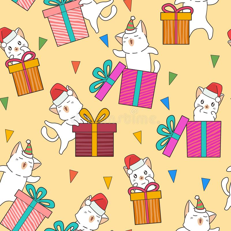 Seamless adorable cat characters and gift boxes in the party pattern stock illustration