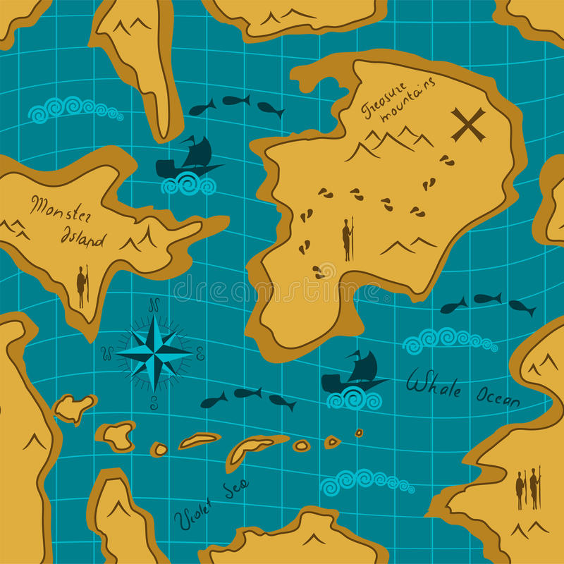 Download Seamless Adventure Map Pattern Stock Vector - Image: 25593022